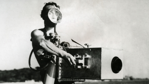 Jean Painlevé with his aquatic camera