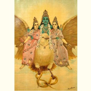 Vishnu and his two consorts