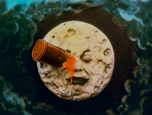 Le voyage moon face rocket in eye