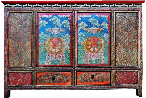 Tibetan dharma wheel cabinet